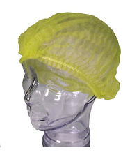 x100 YELLOW NONWOVEN ULTRA-CAP FOOD HYGIENE CATERING DISPOSABLE CAP HAIR NET