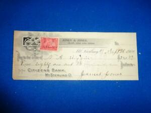 1900 CITIZENS BANK MT STERLING O BANK CHECK W/REVENUE STAMP