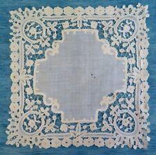 More details for an antique brussels duchesse lace handkerchief
