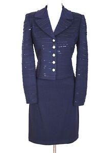 ST.JOHN Womens Suit Navy Blue Sequins Shimmer Rhinestone Jacket Skirt Sz 6-8