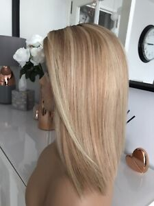 "Balayage Blonde Brown Lace Bob 14"" Ombre Highlight 100% Virgin Human Hair Wig"