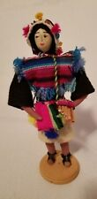 Peruvian Handmade Doll Ethnic Wardrobe Inca Andes Mountains flute player statue