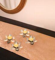 Global Candle Holder, Small Metal Foil Mini Lotus Tea Light - Set of 4