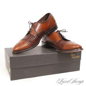Allen Edmonds Made in USA 5357 Sanford Oak Basketweave Tan Captoe Shoes 10.5 B