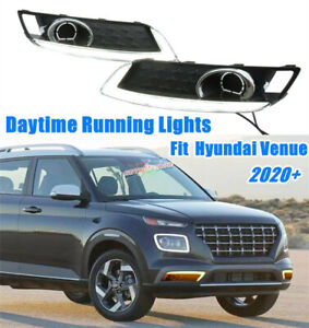 For Hyundai Venue 2020 2021 Daytime Running Lights LED Front Bumper Fog Lights