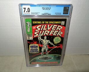 """SILVER SURFER #1 CGC 7.0 OFF WHITE TO WHITE PAGES """"KEY ISSUE FIRST SOLO TITLE """""""