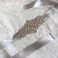 Handmade Bling Bridal Sash Belt Rhineston Crystal Bead Applique,Wedding Dress