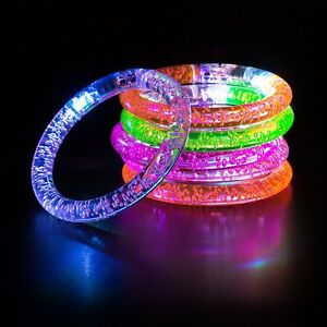 Party Bag Fillers LED Bracelet Wrist Arm Band Glow Flashing Disco Concert UK