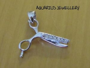 SCISSORS CZ PENDANT  925 S/ SILVER ALSO AVAILABLE WITH A CHAIN FREE GIFT BOX