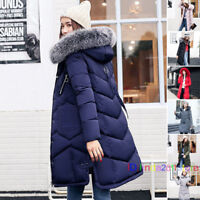 UK WOMEN'S LADIES QUILTED WINTER COAT PUFFER FUR COLLAR HOODED JACKET PARKA WARM
