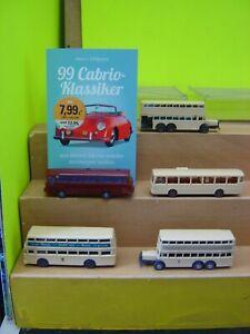 """Wiking 1:87 5 verschiedene Busse + Buch Cabrio Klassiker """"Gebraucht""""(053K)"""