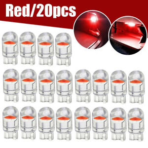 20x T10 LED COB Red Wedge Car Interior Dome Reading Map Light Bulbs W5W 168 194