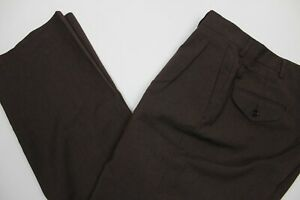 Haggar Mens 34x30 Brown Wool Blend Pleat Front Pants Dress Slacks