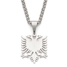 Albanien Albania Silber Kette Anhänger Adler Doppelkopf