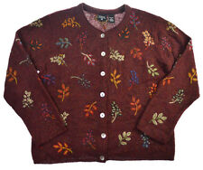 Nordic Design Sweater Cardigan M L Wool Womens Floral Shell Button Burgundy