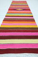 "Vintage Turkish Kilim Runner Rug, Hallway Rug, Aisle Rug 34""x110"" Carpet Runner"