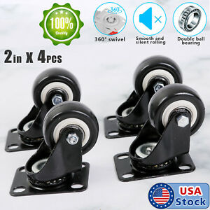 """4 Pack 2"""" Swivel Rubber Caster Wheels with Top Plate & Bearing Heavy Duty 600lb"""