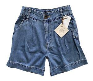 Lee Vintage Modern Nwt Pleated Denim 3778252 Horizon Blue Denim Shorts