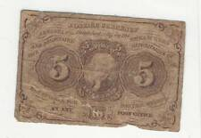 1862 1st First Issue 5 Five Cent Fractional Currency