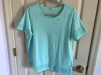 Woman's Talbots size medium petite blue embroidered short sleeve top