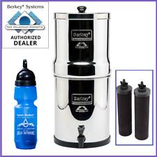 Travel Berkey Water Filter w 2 Black Filters and 1 Berkey Sport Bottle