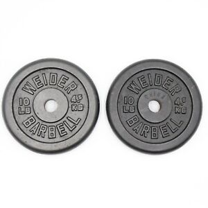 """10 lb Pair of Weider Barbell Standard weight plate home gym 1"""" Hole"""