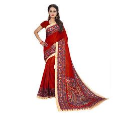 Bollywood indische Printed Bhagalpuri Art Silk Saree Sari Kleider (rot) hippie
