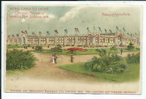 HTL Hold to Light Postcard St. Louis 1904 Worlds Fair Palace of Agriculture