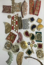 35 Pieces Indian Fabric Sari Snippets Scraps Boho Embellishments