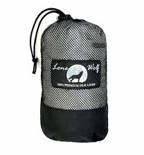 LONE WOLF SPECIAL EDITION: LARGE 100% Mulberry Silk Sleeping Bag Liner GREY