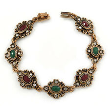 Vintage Inspired Turkish Style Floral Bracelet In Bronze Tone (Green/ Ox Blood)