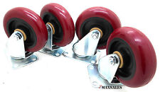 "(Qty-4) 4"" Swivel Caster Polyurethane Wheels Base Top Plate Double Ball Bearing"