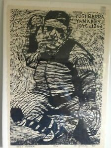 1990 Yogi Berra Wood Cut by Russell Yuristy Signed 3/20 Mickey Mantle Babe Ruth