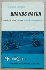 Brands Hatch 12 OTT 1958 Motore Ciclo ROAD RACING PROGRAMMA UFFICIALE