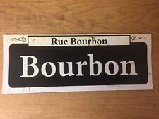 "TIN SIGN ""Bourbon St"" Vintage Mancave Decor New Orleans Street Sign French Qtr"
