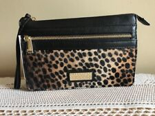 BRAHMIN MILLIE WRISTLET GRANADA LEOPARD PRINTED CALF HAIR AND BLACK LEATHER NEW