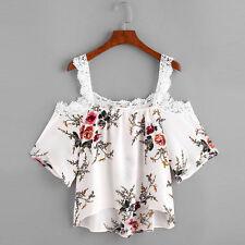 Womens Short Sleeve Tank Crop Tops Ladies Lace Floral off Shoulder Blouse Shirt White XXL