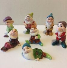 Disney Seven Dwarfs Ceramic Figurines Set of 7. Japan