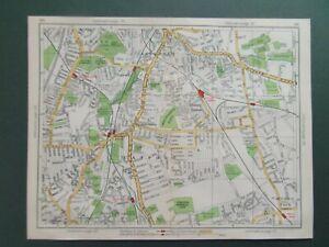 "LONDON LEWISHAM CATFORD HITHER GN BROCKLEY BELLINGHAM 1945 GEOGRAPHIA MAP 10""x8"""