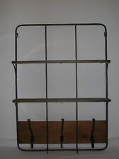 COUNTRY BROWN METAL WOODEN WALL SHELF AND HANGING COAT HOOKS