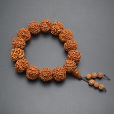 Big size Wood Rudraksha Bodhi Round Beads Mala Prayer Man's Bracelet Jewelry