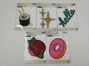 LOT OF 5 Bling Patches Stickers Sushi Light Shine Gold Cross Hello Rose Donut