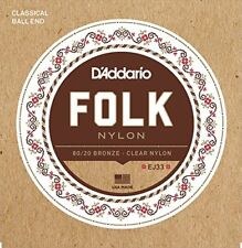 D'Addario Folk Nylon Guitar Strings, Ball End, 80/20 Bronze/Clear Nylon Trebles