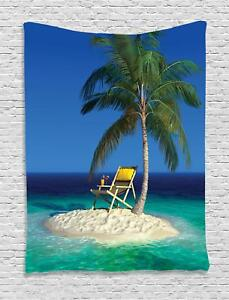 Tropic Tapestry Chair under a Palm Tree Print Wall Hanging Decor
