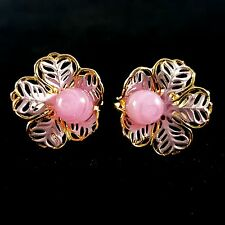 Vintage Clip Earrings Pink Enamel Flower Art Glass Gold Tone BN61
