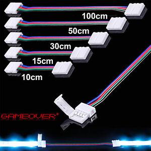 🔴 LED Schnell Verbinder RGB Strip 4 Pin 0,3m 0,5m 1m Meter Kabel Verlängerung
