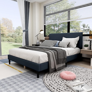 Queen Size Upholstered Panel Bed Frame with Headboard,Box Spring Needed/Mattress