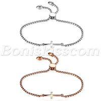 Women Simple Polish Stainless Steel Freely Adjustable Charm Cross Bracelet Chain
