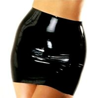 Wet look latex Red Gloves Mini Skirt with hole Shiny Nightwear Unisex one size