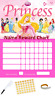 Princess Personalised Reward Behaviour Chart Free Pen,Stickers, Adhesive Pads